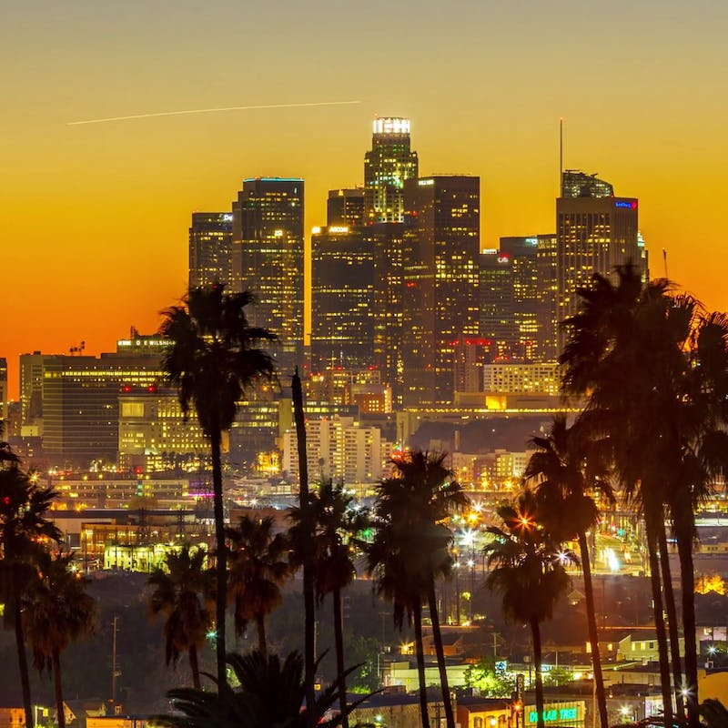 Sunset to night transition zoom out of city of los angeles downtown skyline with palm trees silhouettes in foreground 4k uhd timelapse bniwlnslg thumbnail full01.png?ixlib=rails 2.1