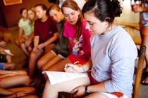 Reviewing schedules at keystone summer camp for girls in brevard north carolina.jpg?ixlib=rails 2.1