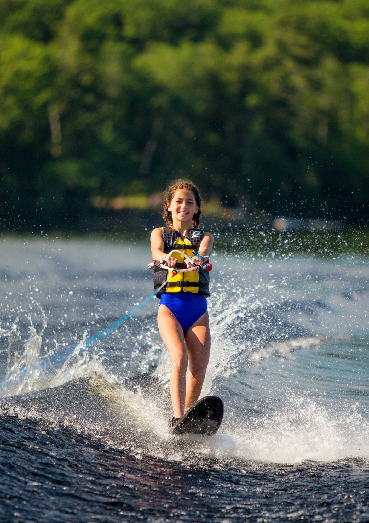 Girl waterskiing
