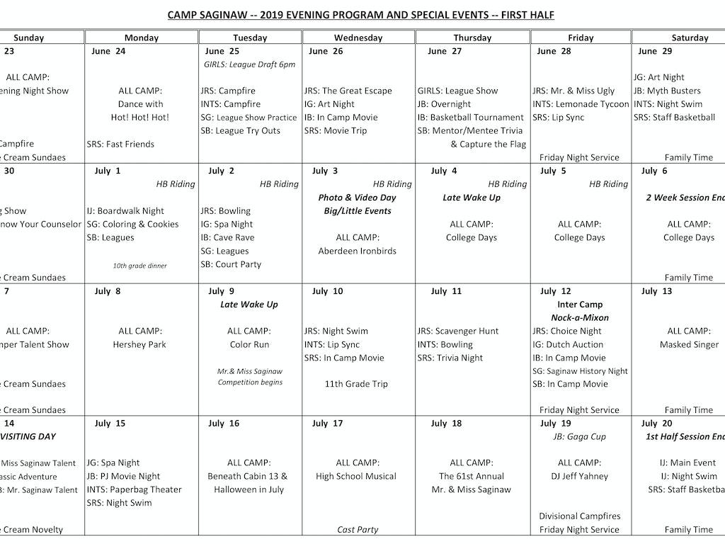 Evening Program Calendar!